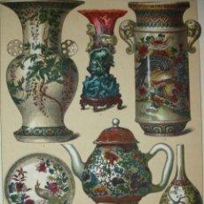 Arte: JARRONES Y CERAMICA CHINA .CROMOLITOGRAFIA DE 1881 DE 17X24.CON LAMINA EXPLICATIVA. Lote 39582993