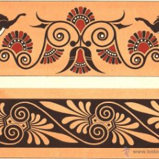 Arte: UXG CROMOLITOGRAFIA C. 1890 J. ALEU GRECIA ORNAMENTOS VASOS CERAMICA MUY RARA. Lote 40190286