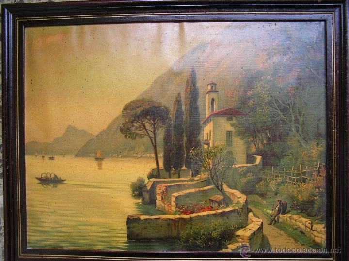 Arte: CROMOLITOGRAFÍA de paisaje S, XIX. Enmarcación original de época. 57 x 45 cm. - Foto 13 - 40319074