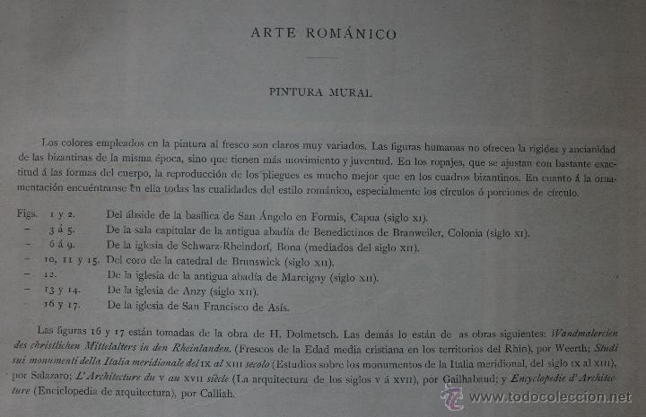 Arte: ARTE ROMANICO: PINTURA MURAL LÁMINA CROMOLITOGRAFIADA A TODO COLOR - 1897 - FORMATO 34 X 25 CM - Foto 2 - 41084874
