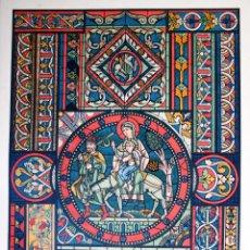 Arte: ARTE ROMANICO – GOTICO: PINTURA DE VIDRIERAS LÁMINA CROMOLITOGRAFIADA - 1897. Lote 41085054