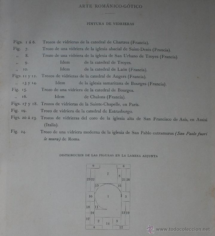 Arte: ARTE ROMANICO – GOTICO: PINTURA DE VIDRIERAS LÁMINA CROMOLITOGRAFIADA - 1897 - Foto 2 - 41085054