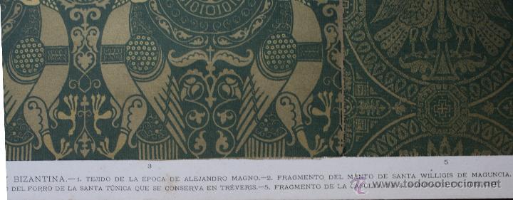 Arte: TEJIDOS DE LAS EPOCAS ALEJANDRINA Y BIZANTINA LÁMINA CROMOLITOGRAFIADA - 1897 - Foto 3 - 41091221