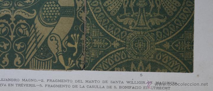 Arte: TEJIDOS DE LAS EPOCAS ALEJANDRINA Y BIZANTINA LÁMINA CROMOLITOGRAFIADA - 1897 - Foto 4 - 41091221