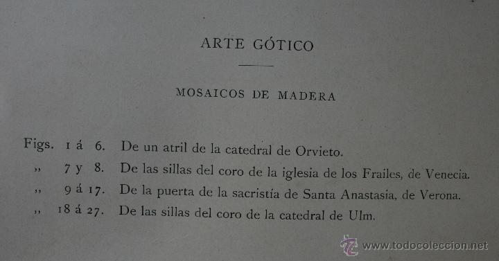 Arte: ARTE GÓTICO: MOSAICOS DE MADERA LÁMINA CROMOLITOGRAFIADA - 1897 MONTANER Y SIMON EDITORES - Foto 2 - 41264376