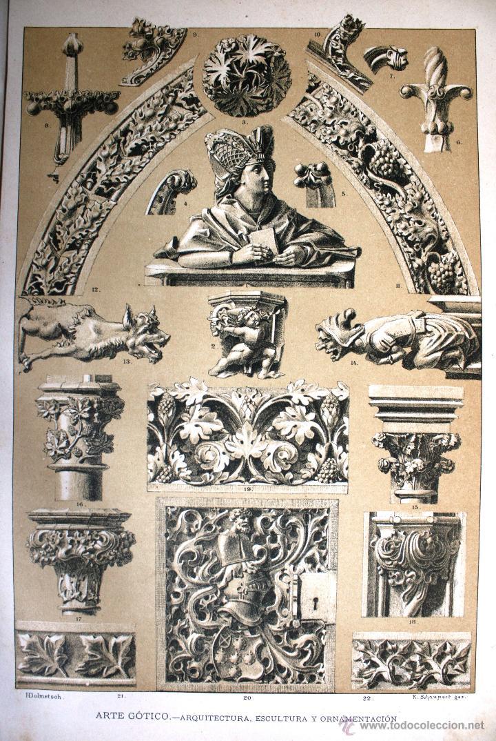 ARTE GÓTICO: ARQUITECTURA, ESCULTURA Y ORNAMENTACION LÁMINA CROMOLITOGRAFIADA - 1897 MONTANER Y ... (Arte - Cromolitografía)