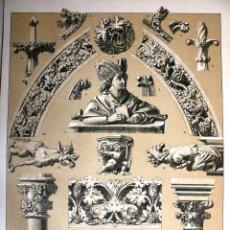 Arte: ARTE GÓTICO: ARQUITECTURA, ESCULTURA Y ORNAMENTACION LÁMINA CROMOLITOGRAFIADA - 1897 MONTANER Y .... Lote 41264486