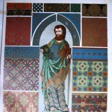Arte: ESTILO GÓTICO: TEJIDO, BORDADOS, ESCULTURA PINTADA Y ESMALTE LÁMINA CROMOLITOGRAFIADA - 1897. Lote 41264695