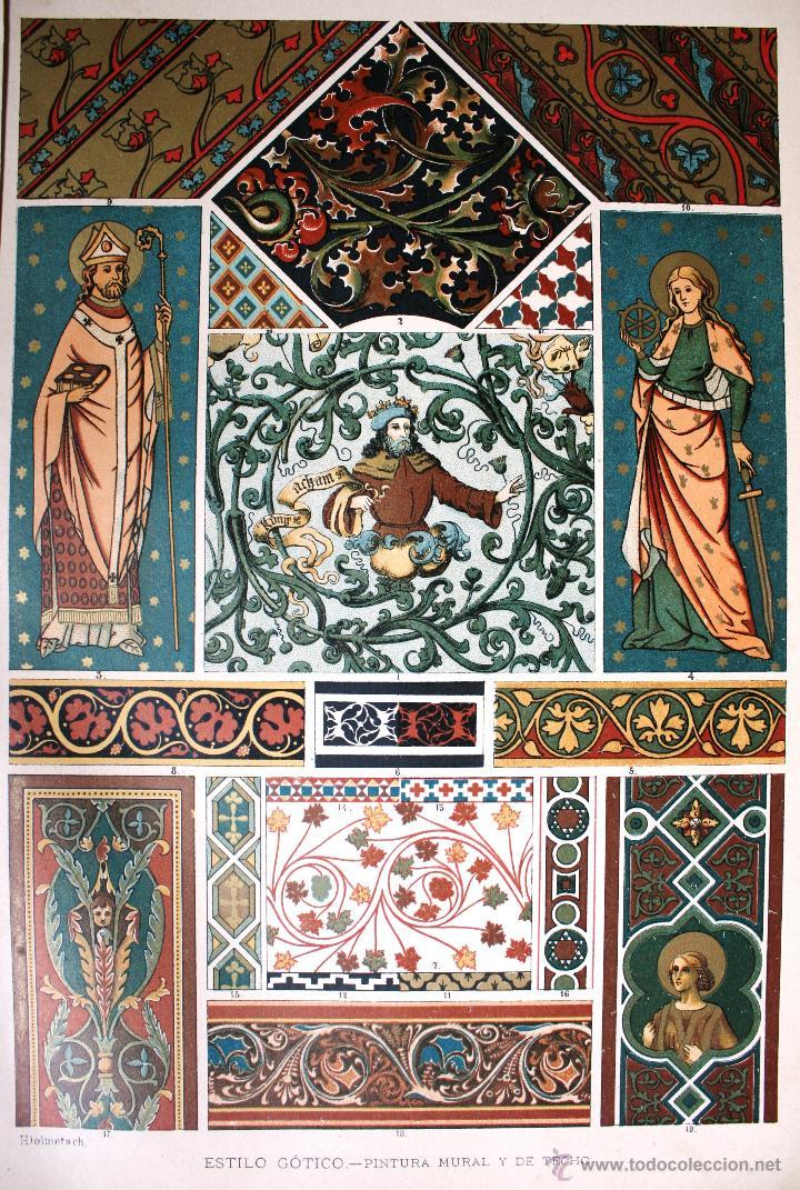ARTE GÓTICO: PINTURA MURAL Y DE TECHOS LÁMINA CROMOLITOGRAFIADA - 1897 MONTANER Y SIMON EDITORES (Arte - Cromolitografía)