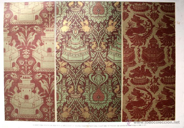 TÉJIDOS (II) LÁMINA CROMOLITOGRAFIADA - 1897 MONTANER Y SIMON EDITORES (Arte - Cromolitografía)