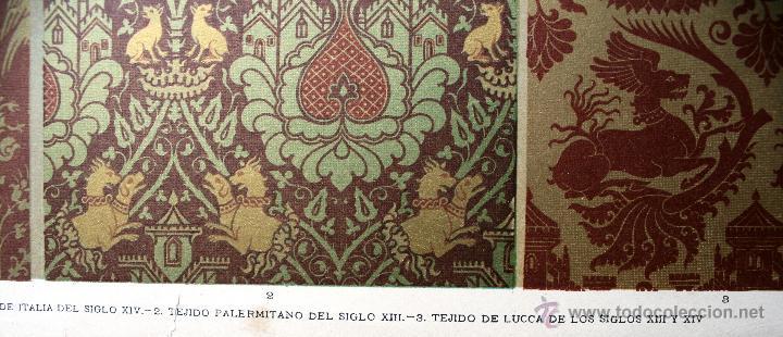 Arte: TÉJIDOS (II) LÁMINA CROMOLITOGRAFIADA - 1897 MONTANER Y SIMON EDITORES - Foto 2 - 41265556