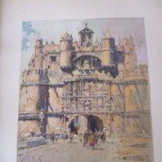 Arte: BURGOS ARCO DE SANTA MARIA CROMOLITOGRAFIA 1925 VISTA ARTISTA INGLES G. EDWARDS. Lote 41274486