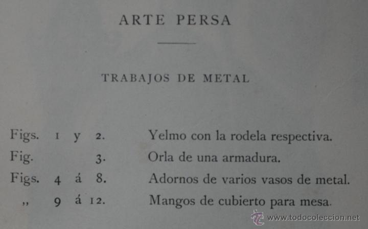 Arte: ARTE PERSA: TRABAJOS DE METAL LÁMINA CROMOLITOGRAFIADA - 1897 MONTANER Y SIMON EDITORES - Foto 2 - 41288046