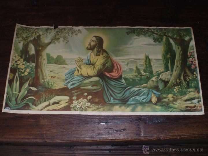 CROMOGRAFIA CRISTO EN EL MONTE DE LOS OLIVOS (Arte - Cromolitografía)