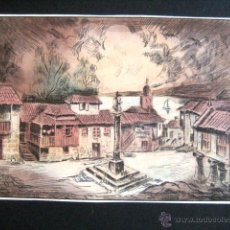 Arte: GALICIA. CROMO LITOGRAFIA DE UNA ALDEA..... Lote 44870340