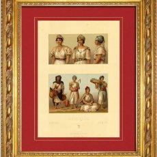 Arte: ALBERT RACINET - GRABADO ORIGINAL DE 1880 AFRICA, ALGERIA Y TUNEZ. MUJERES, ARTISTAS AMBILANTES Y CO. Lote 46945224