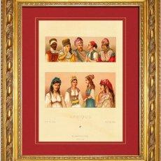 Arte: ALBERT RACINET - GRABADO ORIGINAL DE 1880 SOBRE AFRICA, ALGERIA, TRAJES COSTUMBRES, GORROS, PAÑUELOS. Lote 46945249