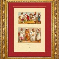 Arte: ALBERT RACINET - GRABADO ORIGINAL DE 1880 SOBRE AFRICA, ALGERIA Y TUNEZ, TRAJES, VESTIDOS, GORROS Y . Lote 46973488