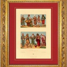Arte: ALBERT RACINET - GRABADO ORIGINAL DE 1880 SOBRE AFRICA, ALGERIA Y TUNEZ , VESTIDOS Y COSTUMBRES DEPE. Lote 46973537