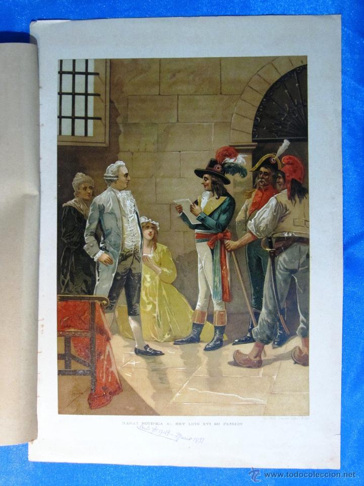 CROMOLITOGRAFIA. GARAT NOTIFICA AL REY LUIS XVI SU PRISION. LIT. FELIPE GONZALEZ ROJAS, MADRID. (Arte - Cromolitografía)
