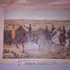Arte: CROMOLITOGRAFÍA (C. 1890) - CARLISMO - PRESENTACION DE DON ALFONSO XII AL EJERCITO DEL NORTE. Lote 47487406