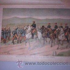 Arte: CROMOLITOGRAFÍA (C. 1890) - CARLISMO - DESPEDIDA DE DON CARLOS AL ABANDONAR TERRITORIO ESPAÑOL. Lote 47487654