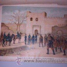 Arte: CROMOLITOGRAFÍA (C. 1890) - GUERRA AFRICA - ENTRADA EN TETUAN DE LAS PRIMERAS TROPAS ESPAÑOLAS. Lote 47487962