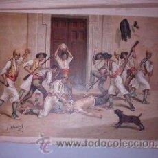 Arte: CROMOLITOGRAFÍA (C. 1890) - CARLISMO - MUERTE DEL ALCALDE DE ALCOY D. AGUSTÍN ALBORS. Lote 47488095