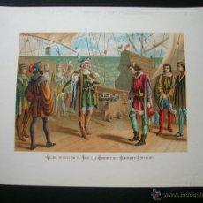 Arte: COLÓN RESISTE EN TAJO LAS ÓRDENES DEL ALMIRANTE PORTUGUÉS.CROMOLITOGRAFIA.FINALES SIGLO XIX.. Lote 47684473