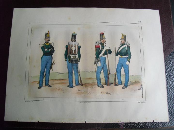 1851 CAPITAN Y SOLDADOS DE INFANTERIA EN 1841 (Arte - Cromolitografía)