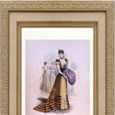Arte: LA MODE ARTISTIQUE ORIGINAL S.XIX, G. JANET, COLOREADA A MANO, MODA ELEGANTE DE SEÑORAS, PARIS, 43X2. Lote 48597567