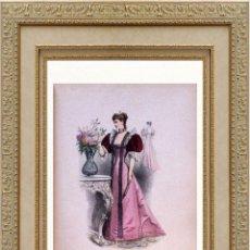Arte: LA MODE ARTISTIQUE ORIGINAL S.XIX, G. JANET, COLOREADA A MANO, MODA ELEGANTE DE SEÑORAS, PARIS, 43X2. Lote 48597663