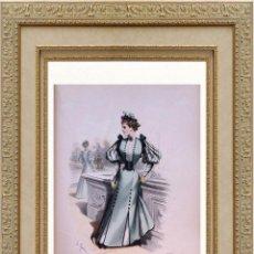 Arte: LA MODE ARTISTIQUE ORIGINAL S.XIX, G. JANET, COLOREADA A MANO, MODA ELEGANTE DE SEÑORAS, PARIS, 43X2. Lote 48597721