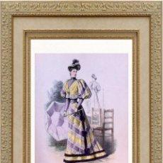 Arte: LA MODE ARTISTIQUE ORIGINAL S.XIX, G. JANET, COLOREADA A MANO, MODA ELEGANTE DE SEÑORAS, PARIS, 43X2. Lote 48597886