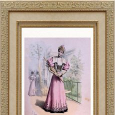 Arte: LA MODE ARTISTIQUE ORIGINAL S.XIX, G. JANET, COLOREADA A MANO, MODA ELEGANTE DE SEÑORAS, PARIS, 43X2. Lote 48597929