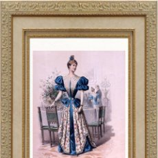 Arte: LA MODE ARTISTIQUE ORIGINAL S.XIX, G. JANET, COLOREADA A MANO, MODA ELEGANTE DE SEÑORAS, PARIS, 43X2. Lote 48597968