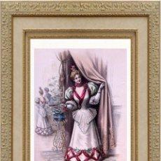 Arte: LA MODE ARTISTIQUE ORIGINAL S.XIX, G. JANET, COLOREADA A MANO, MODA ELEGANTE DE SEÑORAS, PARIS, 43X2. Lote 48597984