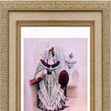 Arte: LA MODE ARTISTIQUE ORIGINAL S.XIX, G. JANET, COLOREADA A MANO, MODA ELEGANTE DE SEÑORAS, PARIS, 43X2. Lote 48598640