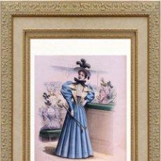 Arte: LA MODE ARTISTIQUE ORIGINAL S.XIX, G. JANET, COLOREADA A MANO, MODA ELEGANTE DE SEÑORAS, PARIS, 43X2. Lote 48598676