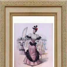Arte: LA MODE ARTISTIQUE ORIGINAL S.XIX, G. JANET, COLOREADA A MANO, MODA ELEGANTE DE SEÑORAS, PARIS, 43X2. Lote 48598823