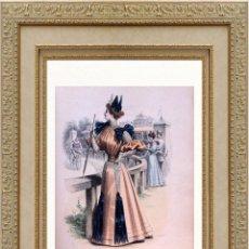 Arte: LA MODE ARTISTIQUE ORIGINAL S.XIX, G. JANET, COLOREADA A MANO, MODA ELEGANTE DE SEÑORAS, PARIS, 43X2. Lote 48598844