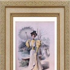 Arte: LA MODE ARTISTIQUE ORIGINAL S.XIX, G. JANET, COLOREADA A MANO, MODA ELEGANTE DE SEÑORAS, PARIS, 43X2. Lote 48598938
