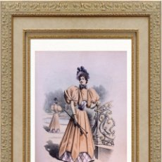 Arte: LA MODE ARTISTIQUE ORIGINAL S.XIX, G. JANET, COLOREADA A MANO, MODA ELEGANTE DE SEÑORAS, PARIS, 43X2. Lote 48598970