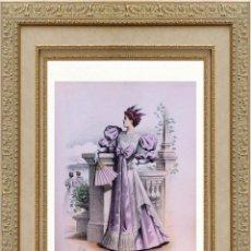 Arte: LA MODE ARTISTIQUE ORIGINAL S.XIX, G. JANET, COLOREADA A MANO, MODA ELEGANTE DE SEÑORAS, PARIS, 43X2. Lote 48652291