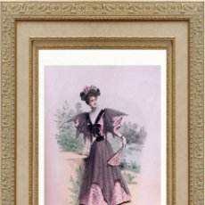 Arte: LA MODE ARTISTIQUE ORIGINAL S.XIX, G. JANET, COLOREADA A MANO, MODA ELEGANTE DE SEÑORAS, PARIS, 43X2. Lote 48652328