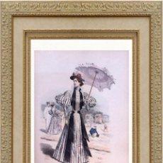 Arte: LA MODE ARTISTIQUE ORIGINAL S.XIX, G. JANET, COLOREADA A MANO, MODA ELEGANTE DE VERANO, PARIS, 43X29. Lote 48652348