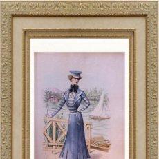 Arte: LA MODE ARTISTIQUE ORIGINAL S.XIX, G. JANET, COLOREADA A MANO, MODA ELEGANTE DE MARINERA, PARIS, 43X. Lote 48655719