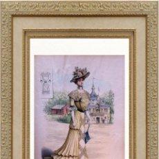 Arte: LA MODE ARTISTIQUE ORIGINAL S.XIX, G. JANET, COLOREADA A MANO, MODA ELEGANTE DE SEÑORAS, PARIS, 43X2. Lote 48655778