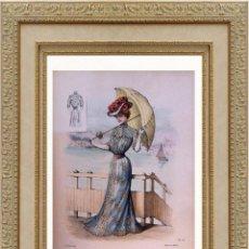 Arte: LA MODE ARTISTIQUE ORIGINAL S.XIX, G. JANET, COLOREADA A MANO, MODA ELEGANTE DE SEÑORAS, PARIS, 43X2. Lote 48655809