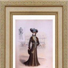 Arte: LA MODE ARTISTIQUE ORIGINAL S.XIX, G. JANET, COLOREADA A MANO, MODA ELEGANTE DE SEÑORAS, PARIS, 43X2. Lote 48655872